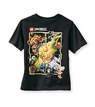 LEGO® Boys' 4-7 Black Short Sleeve Multi Ninjago Character Tee