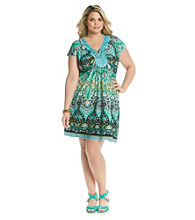 Oneworld Plus Size Flutter Sleeve Embroidered Dress