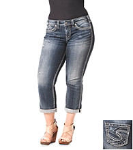 Silver Jeans Co. Plus Size Twisted Five Pocket Denim Capri
