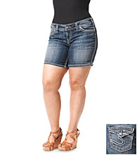 Silver Jeans Co. Plus Size Suki Flap Back Pocket Denim Above Knee Short