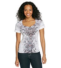 Oneworld® Petites' Sweetheart Neckline Printed Top