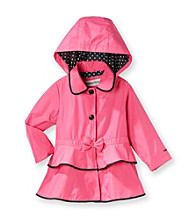 London Fog® Girls' 2T-6X Trench Coat with Polka-Dot Hood