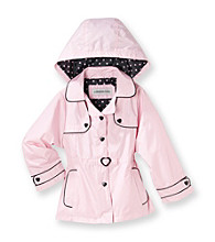 London Fog® Girls' 2T-6X Light Pink Trench Coat with Polka-Dot Hood