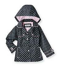 London Fog® Girls' 2T-6X Black Hooded Polka-Dot Trench Coat