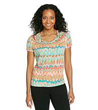 Rafaella® Petites' Drapey Watercolor Slub Knit Top