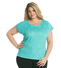 Notations® Plus Size Lace Tee