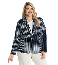 Notations® Plus Size Stripe Jacket