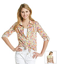 Belle du Jour Juniors' Floral Lace Back Equipment Shirt