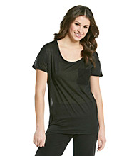 Grane® Juniors' Scoopneck Relaxed Fit Lace Pocket Tee