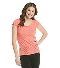 Grane® Juniors' Scoopneck Dot Burnout Tee