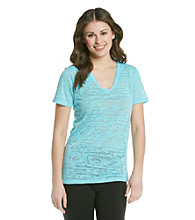 Grane® Juniors' V-Neck Burnout Tee