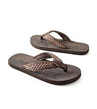 Paradise Collection® Men's Brown Canvas Thong Sandal with Braid Detail