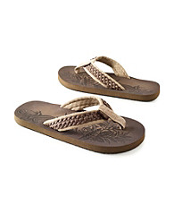 Paradise Collection® Men's Cognac Canvas Thong Sandal with Braid Detail