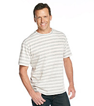 Paradise Collection® Men's Basic Cream Short Sleeve Stripe Crewneck Tee