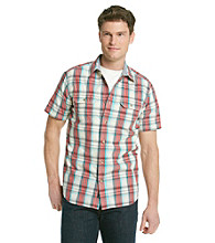 Ruff Hewn Men's Aqua Nile Short Sleeve Plaid Woven
