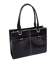 McKlein Angelina Black Faux-Leather Business Tote
