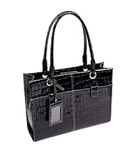 McKlein Elena Black Faux-Leather Business Tote