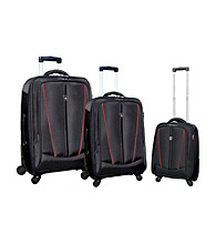 Travelers Club® 3-pc. Black and Red Expandable Heavy Duty Luggage Set