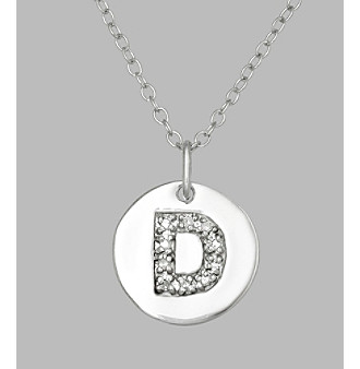 ".05 ct. t.w. Diamond and Sterling Silver ""D"" Initial Pendant Necklace"