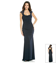 Xscape Long Lace Cut-Out Dress