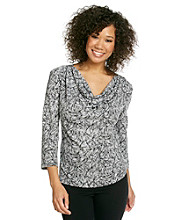 MSK® Printed Drapeneck Top