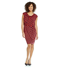 Evan-Picone® Cowlneck Striped Blouson Dress