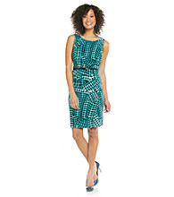 Evan-Picone® Belted Print Tank Dress