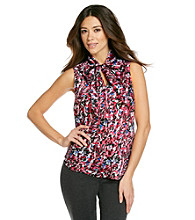 Evan-Picone® Hot Pink Combo Printed Tie-Neck Top