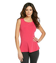 NY Collection Solid Peplum Tank Top