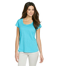 Relativity® Petites' Clear Sequin Scoopneck Tee