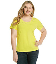 Relativity® Plus Size Clear Sequin Scoopneck Tee