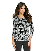 Relativity Career Retro Rose 3/4 Sleeve Printed Cardigan