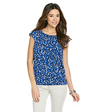 Relativity® Career Printed Ruched Scoopneck Top