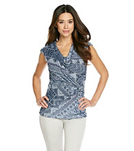 Relativity® Career Petites' Drapeneck Mesh Top