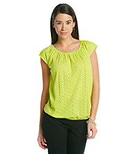 Relativity® Career Lasercut Ruched Scoopneck Top