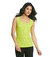Relativity® Career Petites' Lace Front Tank Top