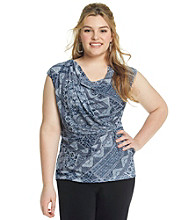 Relativity® Career Plus Size Drapeneck Wrap Top