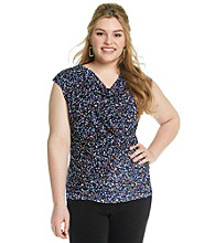 Relativity® Career Plus Size Peplum Mesh Top