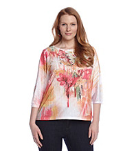 Breckenridge® Plus Size Lace Applique Sublimation Tee
