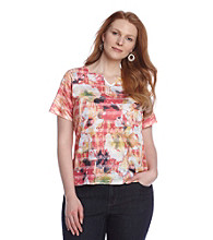 Breckenridge® Plus Size Autumn Sun Sublimation Jacquard Tee