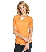 Breckenridge® Petites' Layered-Look Lace Tee