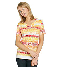Breckenridge® Petites' V-neck Stripe Tee