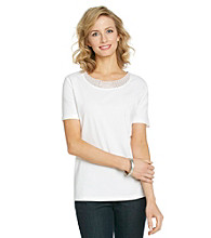 Breckenridge® Petites' Mesh Scoopneck Beaded Tee