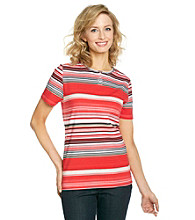 Breckenridge® Petites' Striped Scoopneck Tee