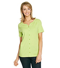 Studio Works® Buttonfront Peasant Top