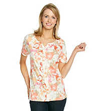 Studio Works® Buttonfront Printed Peasant Top