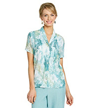 Alfred Dunner® Y-Neckline Front Button Up Blouse