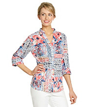 Alfred Dunner® Mandarin Collar Front Button Up Closure Shirt