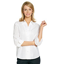 Alfred Dunner® Point Collar Front Button Up Closure Shirt