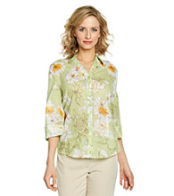 Alfred Dunner® Point Collar Front Button Up Shirt